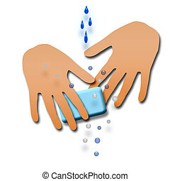 contagious poster washing hands with soap illustration