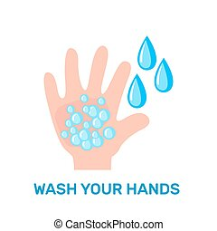 Wash your hands icon in flat style isolated on white background.