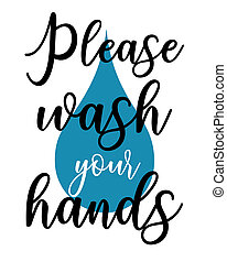 Wash your hands poster - A typography wash your hands poster