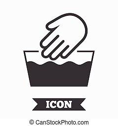 washable, simbolo., segno, macchina, lavare, non, icon., mano