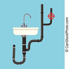 Washbasin with pipes