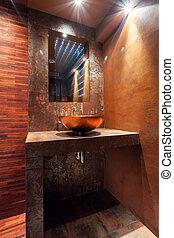 washbowl, en, lujo, cuarto de baño
