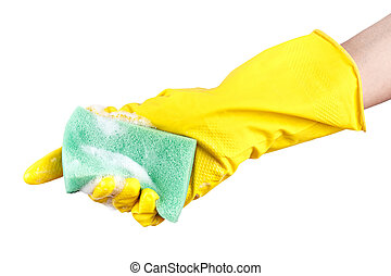 washcloth in hand isolated