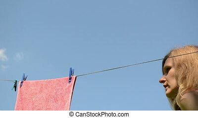 washed clothes hang