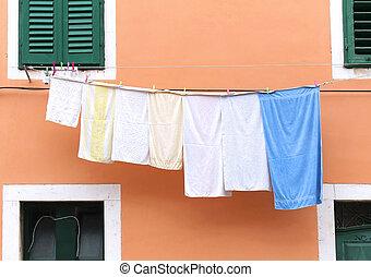 Washed laundry on string