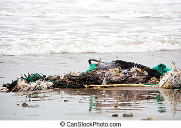 Washed Up - A clump of fishing net and garbage washed up on...