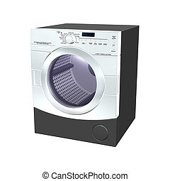 Washer - 3D digital render of a washer isolated on white...