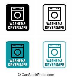 Washer & dryer safe information sign