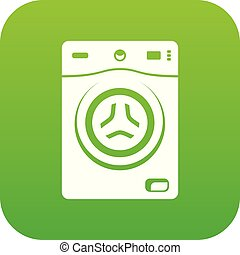 Washer icon green vector isolated on white background