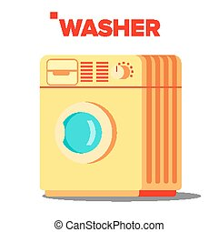 Washer Mashine Vector. Classic Autonomus Home Washing...