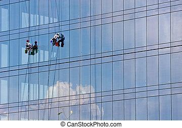 washers, здание, окно, отражение, облако
