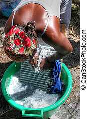 A woman washing clothes in Capo Verde