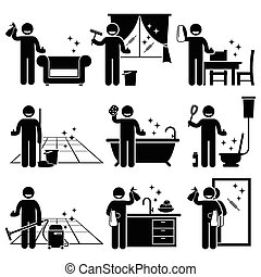 Washing and Cleaning House - Human pictogram stick figures...