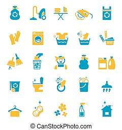 Washing and cleaning icons set. Vacuum and glove, bucket and sponge, cleaner and brush, spray and washing. Vector illustration