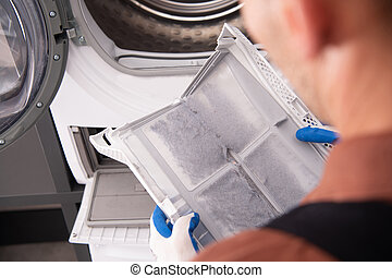 Washing and Dryer Machine Filter Covered by Dirt.