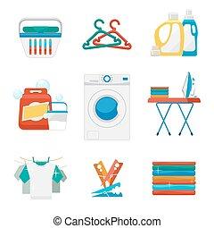 Washing and laundry flat icons