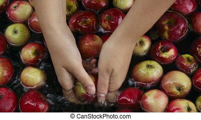 Washing apples.