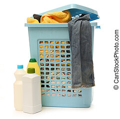 Washing basket with detergent - Plastic washing basket with...