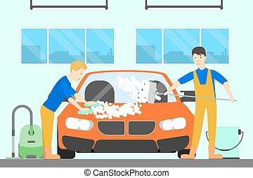 Washing car at service. - Washing car at car service. Men...
