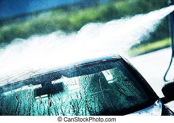 Washing Car in Car Wash