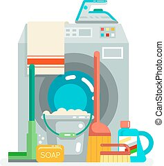Washing cleaning concept supplies icons flat design vector...