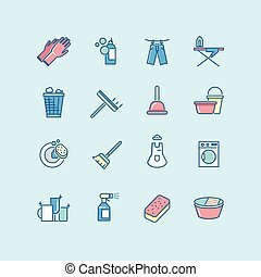 Washing, cleaning, laundry line color vector icons