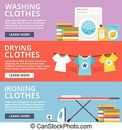 Washing clothes, drying clothes, ironing clothes flat...