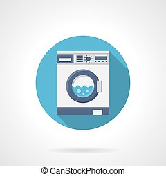 Washing clothes flat round vector icon