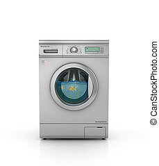 Washing concept. Aquarium with goldfish in a drum of modern washing machine. 3d illustration