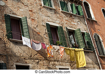 Washing day in Venice, Italy