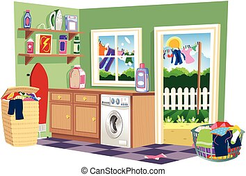 Washing day laundry room.eps - A cutaway illustration of a...