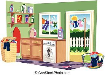 Washing day laundry room.eps