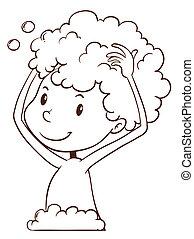Washing hair - Illustration of a child washing hair