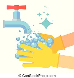 washing hand flat