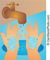 Washing hands clean - With soap bubbles on hands, we wipe...