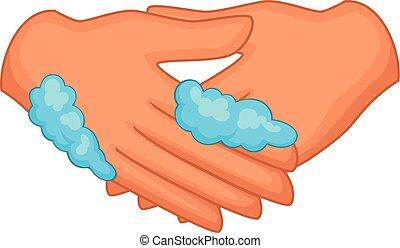Washing hands icon, cartoon style