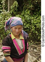 Washing Hmong woman - Portrait of a woman of the Hmong...