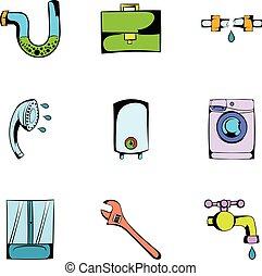 Washing icons set, cartoon style