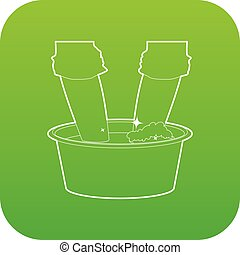 Washing in the basin icon green vector