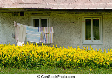 Washing line in front of old house. Bohemian Forest. Czech Republic.