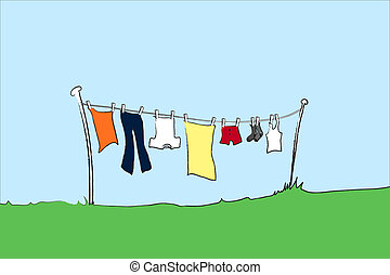 Washing line mens - A vector illustration of mens clothing...
