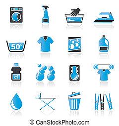 Washing machine and laundry icons - vector icon set