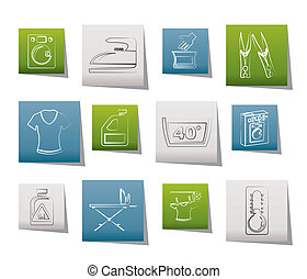 Washing machine and laundry icons - vector illustration