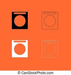Washing machine  black and white set icon .