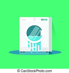 Washing machine broken vector illustration, flat cartoon damaged washer with flowing water on floor