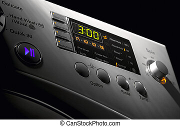 Washing machine control pannel - Close up of a modern...