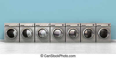 Washing Machine Empty Row - A front view of a row of empty ...