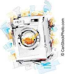 Washing Machine - This Vector Image was digital painted on...