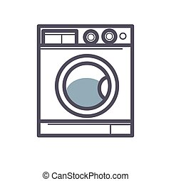 Washing machine front view close-up isolated on white
