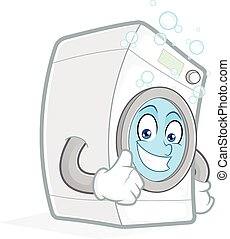 Washing machine giving thumbs up - Clipart picture of a...